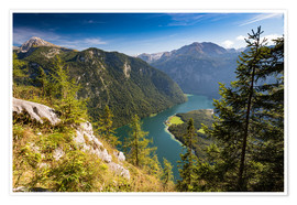Póster Premium  St. Bartholomae at the Koenigssee at the foot of the Watzmann - Markus Ulrich