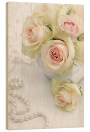 Quadro de madeira  Pastel-colored roses with pearls