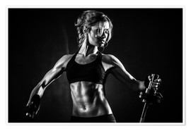 Póster Premium  Sportswoman with barbell
