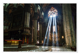 Póster Premium  Beams of Light inside Milan Cathedral