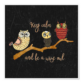 Póster Premium Keep calm and be a wise owl