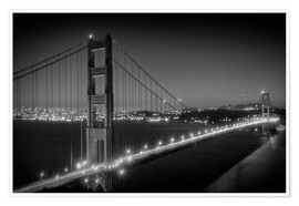 Póster Premium  Evening Cityscape of Golden Gate Bridge - Melanie Viola