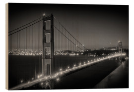 Quadro de madeira  Evening Cityscape of Golden Gate Bridge - Melanie Viola