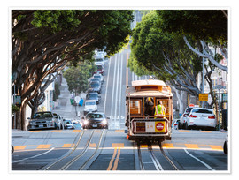 Póster Premium  Cable tram in a street of San Francisco, California, USA - Matteo Colombo