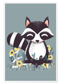 Póster Premium  Animal friends - The raccoon - Kanzilue