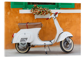 Quadro em acrílico  White scooter in front of a window