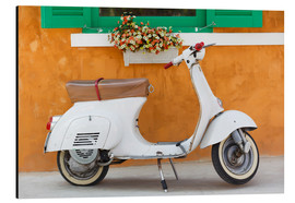 Quadro em alumínio  White scooter in front of a window