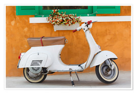 Póster Premium  White scooter in front of a window