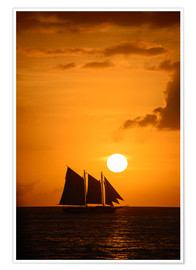 Póster Premium  Sailing ship and sunset, Key West