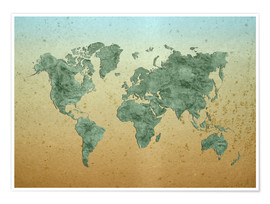 Póster Premium Vintage World Map