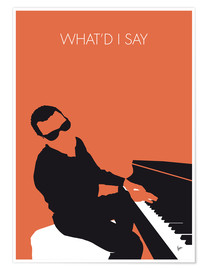 Póster Premium Ray Charles, What'd I say