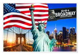Póster Premium New York City Photo Collage with Statue of Liberty