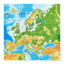 Póster Premium  Europe - Physical Map
