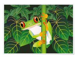Póster Premium  Hold on tight little frog! - Kidz Collection