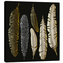 Quadro em tela  Feathers in Gold and Silver