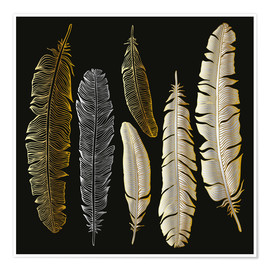 Póster Premium  Feathers in Gold and Silver