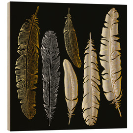 Quadro de madeira  Feathers in Gold and Silver