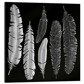 Quadro em acrílico  Feathers in silver