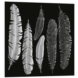 Quadro em PVC  Feathers in silver