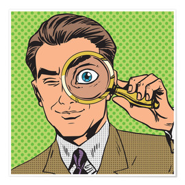 Póster Premium Detective with magnifying glass