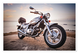 Póster Premium  Motorbike by the sea