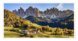 Póster Premium  Funes in the Dolomite Alps in autumn, South Tyrol - Italy - Achim Thomae
