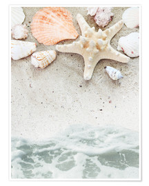 Póster Premium  Sea Beach with starfish
