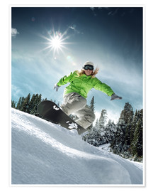 Póster Premium  Snowboarder on a slope