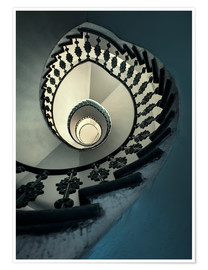 Póster Premium Spiral staircase in beige and blue
