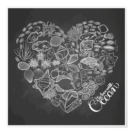 Póster Premium  Heart made of shells and fish