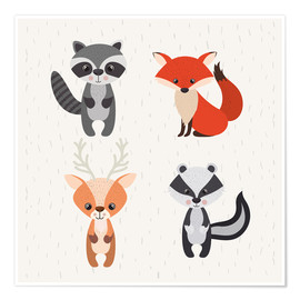 Póster Premium Forest animals
