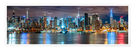 Póster Premium  New York - Manhattan Skyline (with captions) - Sascha Kilmer