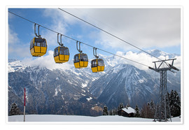 Póster Premium  Cable car in the Alps