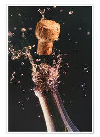 Póster Premium  Champagne bottle and cork - Ktsdesign