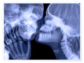 Póster Premium Lovers kissing, X-ray