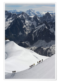 Póster Premium  Climber and climber in snowy mountains - Peter Richardson
