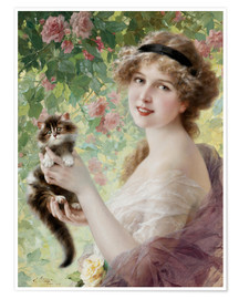Póster Premium Young girl with a kitten