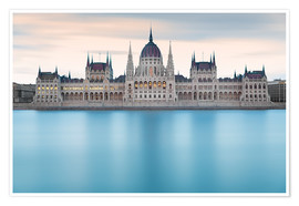 Póster Premium  Hungarian Parliament with Danube, Budapest - Frank Fischbach