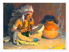 Póster Premium  The chief song - Eanger Irving Couse