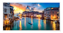 Póster Premium  Grand Canal in Venice at night, Italy - Jan Christopher Becke
