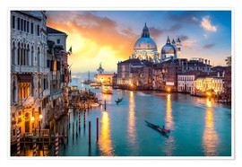 Póster Premium  Grand Canal at sunset in Venice, Italy - Jan Christopher Becke