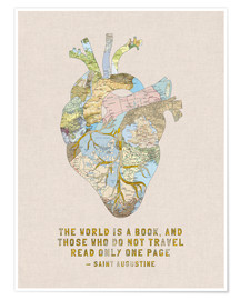Póster Premium  A Travelers Heart + Quote - Bianca Green