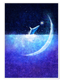 Póster Premium Blue whale and crescent