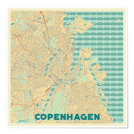 Póster Premium  Copenhagen Map Retro - Hubert Roguski
