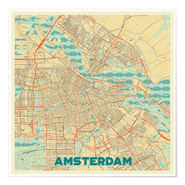 Póster Premium  Amsterdam Map Retro - Hubert Roguski