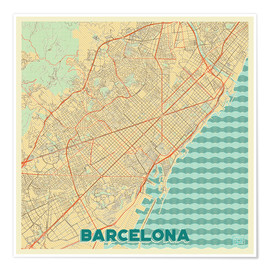 Póster Premium  Barcelona Map Retro - Hubert Roguski