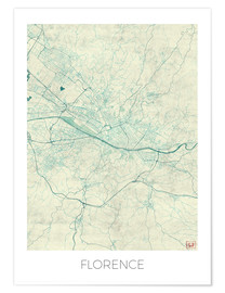 Póster Premium Florence, Italy Map Blue