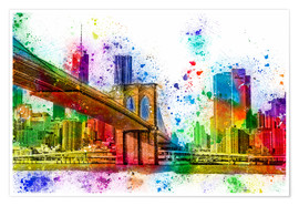 Póster Premium  New York with Brooklyn Bridge - Peter Roder