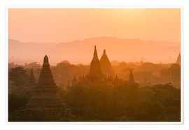 Póster Premium  Sunrise over the ancient temples of Bagan II - Harry Marx