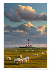 Póster Premium  Lighthouse Westerhever, Cumulus clouds - Rainer Mirau